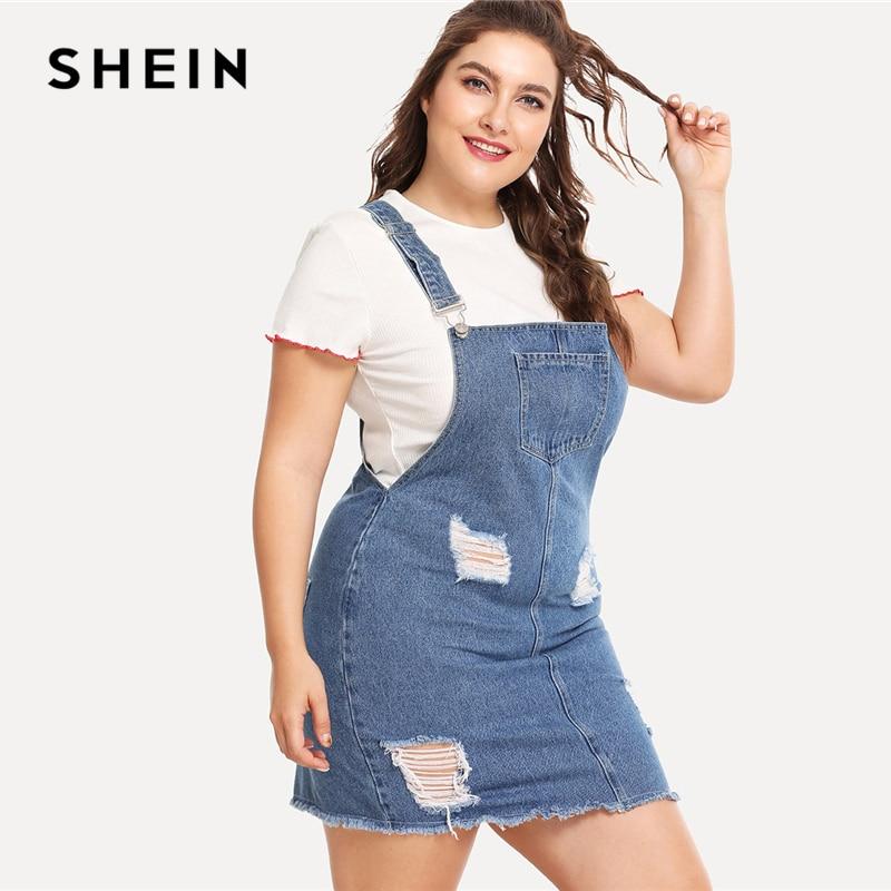 Shein Hem Desgastado Denim Vestido General 2018 Verano Correas Sin Mangas Rasgado Ropa Mujer Más Tamaño Casual Vestido De Mezclilla
