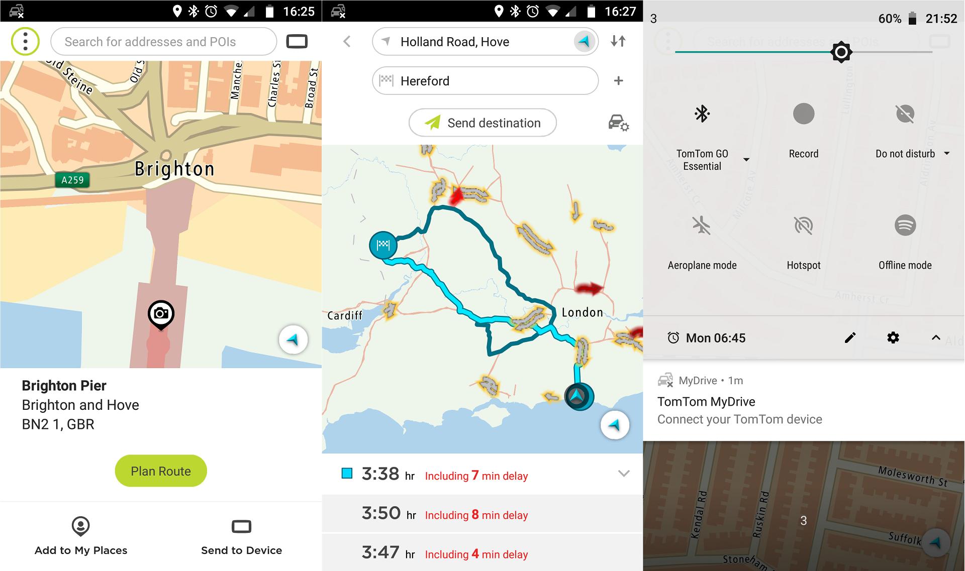 Tres pantallas de Android de TomTom MyDrive, que muestran un destino, una ruta y problemas con la conexión Bluetooth